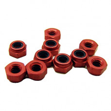 CRC Red Anodized Aluminum Locknuts 3/16 Hex, 4-40 Thread